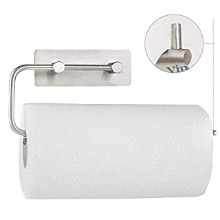 HOMFA Kitchen Roll Holder Self Adhesive Paper Tissue Dispenser Stainless Steel Rowel Rack Brushed Finish,28.5cm