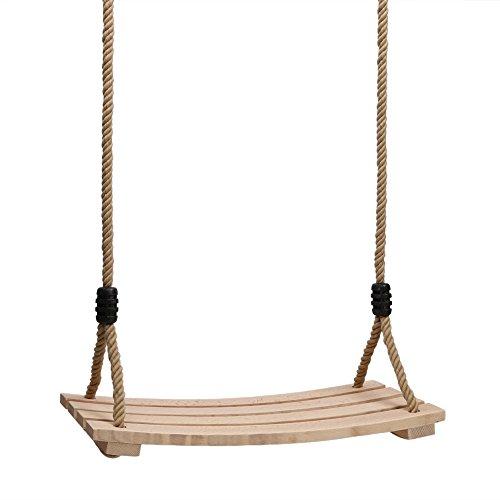 Pellor Erwachsene Kinderschaukelsitz mit Holzbrett Hängesitz, 120cm-180cm Verstellbares Seil bis150kg (Khaki)