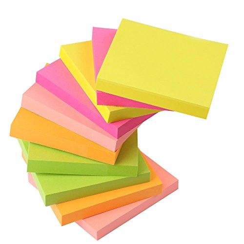 Haftnotizen, AIEX 10 Stück Mehrfarbig Notizzettel Selbstklebend 100 Blatt / Pad 3 X 3 inches Super Sticky Notes Klebezettel Bunt für Büro,Schule,Haus(Fluoreszenz)