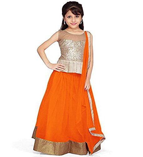 Muta Fashions Net Orange Kid's Lehenga ( KIDSLEHENGA02_Orange )