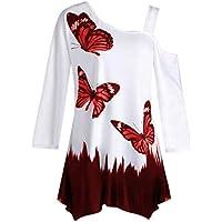 Mujeres Tops Rovinci Mujeres cómodas de Moda Sexy Mariposa impresión un Hombro de Manga Larga túnica Camiseta Floja Blusa Tops