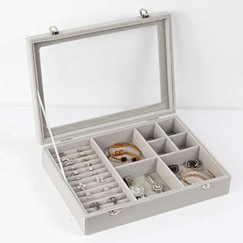 LTLWL Schmuck Aufbewahrungsbox Transparent Flanell Staubdicht Bequem Ring Ohrringe Schmuck Veredelung Schmuck Ohrringe Box -