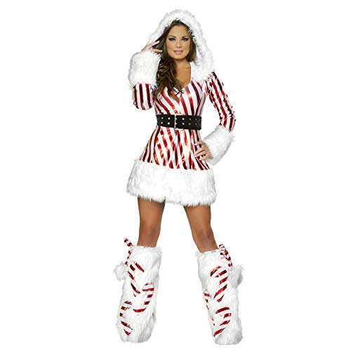 Ambiguity Weihnachtskostüme,Adult Christmas Kleid gestreift Weihnachten Kleid cos Weihnachtsmann Dress sexy Overall