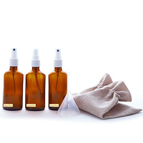 5piezas frasco de vidrio ámbar Bomba de spray + Loción 50ml Set by nomara Organics. Incluye 2x 50ml botellas de cristal ámbar con bomba atomizador Mist Spray, color blanco + 1x 50ml botella con dispensador de loción Petróleo Suero + sin BPA transferencia embudo y bolsa de yute natural. ECO-friendly, vacío, reutilizable para orgánico belleza y cuidado de la piel productos, aromaterapia, aceites esenciales, regalo.