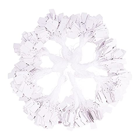 PandaHall Elite - Lot de 1 Sachet Etiquettes de Prix en Papier pour Bijoux avec Chaine Blanc, Rectangle, Blanc,23x13mm