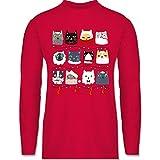 Weihnachten & Silvester - Katzen zu Weihnachten - XXL - Rot - BCTU005 - Herren Langarmshirt