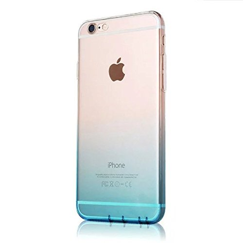 MOMDAD Etui Transparent pour Apple iPhone 6/6S (4.7 pouces) TPU Coquette Gel Coque Ultra Mince Case Cover Telephone Portable Soft Housse iPhone 6S Cas Flex Silicone Protection Shell Coquille Couvrir C Gradual change-sky bleu