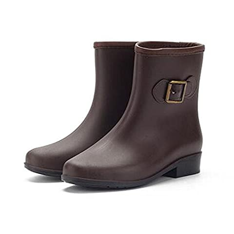 Minetom Women Mid-Calf Buckle PVC Rain Boots Ladies Anti-Slip Rain Shoes Martin Rainboots Slip Resistant Waterproof Flat Brown UK