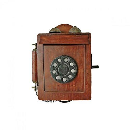 Briefkasten Postkasten Nostalgie Holz-Optik Motiv Telefon braun