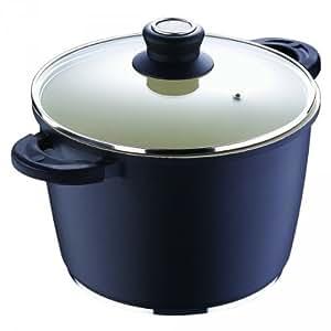 Suppentopf mit Deckel - schwarz - Ø 24 cm - 6,7 Liter