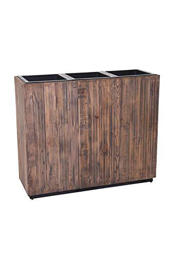 """Pflanzkübel Raumteiler Sichtschutz Trennelement aus Recycling Holz \""""Elemento\"""" 75 x 90 x 32, Antik Braun"""