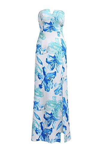 Frauen Floral Strapless Split Maxi Strandkleid Blue