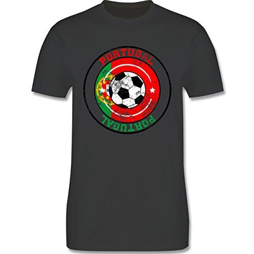 EM 2016 - Frankreich - Portugal Kreis & Fußball Vintage - Herren Premium T-Shirt Dunkelgrau