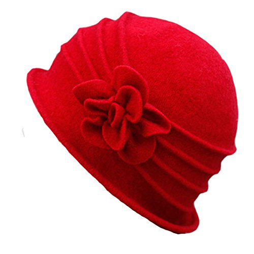 Butterme Damen Winter elegante Blumen-Wool Cap Beret Mütze Cloche Bucket Hat (Rot#1) (Cloche Bucket)