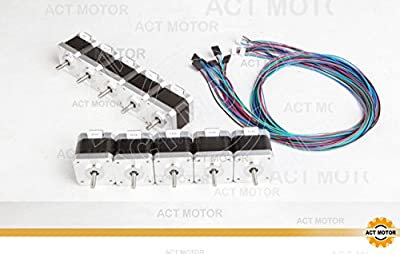 Act Motor GmbH 10pcs Nema17 17HS4417L20P1 x2 Stepper Motor, Flat Shaft 40 mm 4000g. cm 1.7 A/Cable with Connector