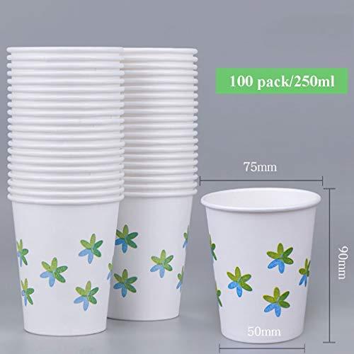 Sgfccyl Einwegbecher - 250 ml for heiße Cappuccino-Kaffee-Tee-Getränke, hochwertige, recyclebare Partybecher (Size : 100 Pack) (Recyclebare Trinkbecher)