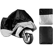 Cubierta de la moto de leaningtech | grande impermeable Funda impermeable para Motocycle asiento para moto y funda para todo tipo de clima, resistente al aire libre protección, XXL/XXXL color seleccionable, sliver & black