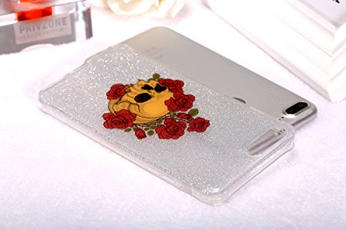 Custodia iPhone 6 Plus 6S Plus, ISAKEN Cover per Apple iPhone 6 Plus 5.5 [TPU Shock-Absorption] - Glitter Farfalle Design Custodia Case Ultra Sottile TPU Morbido Protettiva Cassa Bumper - Glitter Far Cranio rose