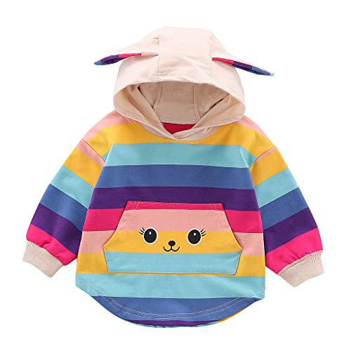 Coversolate Neugeborenes Baby Kleidung Unisex Sweatshirt mit Kapuze, Hoodie mit Regenbogen 3D Kaninchen Ohr Print Kapuzenpullover, 0-38 Monate