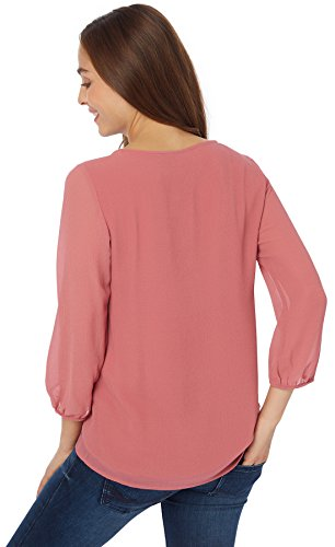 TOM TAILOR Damen Bluse Lovely Blouse with Lace Detail Beere