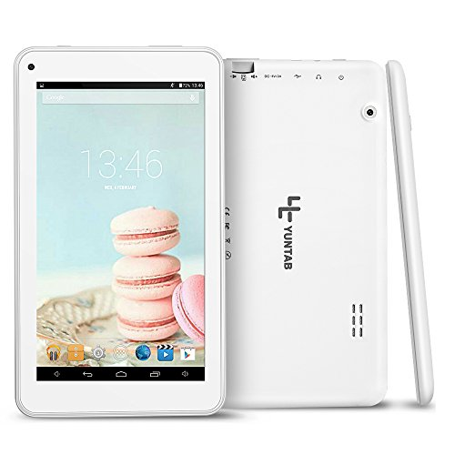 Yuntab 7 Pollici Tablet PC T7 Wifi tablet,OTG External 3G RAM 512MB ROM 8GB NAND doppia fotocamera HD 1024x600 display Google Android 4.4 KitKat Allwinner A33 quad core 1.5GHz, Supporta Play Store Google Youtube, Netflix, Games (Bianco)