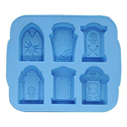 S Formen Grabstein Silikon Eiswürfel Wafer Mold Silikonformen Tray Makers für Halloween Bar Party Accesory (Blau) ()