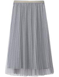 6bd73c028379 Yiiquanan Damen Elegant Maxi Rock Mode A-Linie Falten Röcke Sommer Hohe  Taille Langer Tüllrock