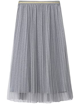 Yiiquanan Mujeres Midi Tulle Faldas del Verano Estilo Simple Elegantes  Faldas Plisada Larga de la Cinturón 4c7e0177402e