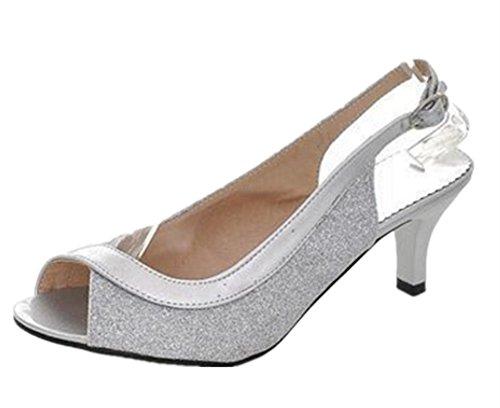 Wealsex damen sandalen Pumps Silber