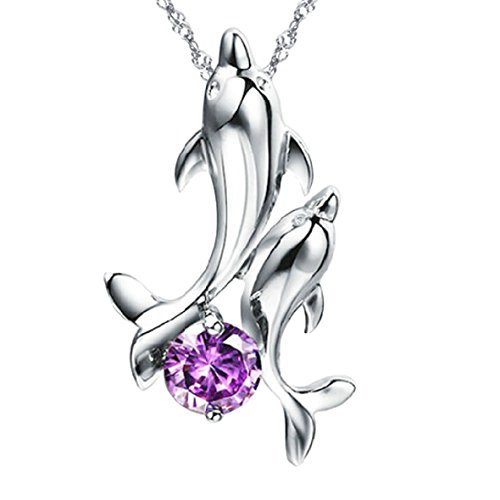 Dancing Delfine [violett] Sterling Silber Anhänger Halskette von Pearl von Dream