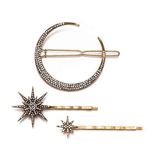 756e0f25e7a 1Set 3Pcs Gold Moon Star Shape Rhinestone Hair Clips Shiny Artificial  Diamond Side Clamps Hair Bobby