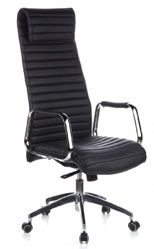 hjh OFFICE 600900 Chefsessel ASPERA 20 Nappaleder Schwarz/Chrom Bürostuhl mit hoher Rückenlehne