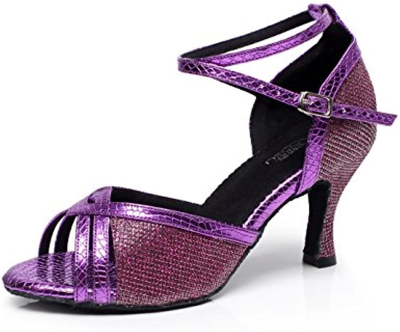 JSHOE Damen Tanzschuhe Latin Salsa / Tango / Tee / Samba / Modern / Jazz Schuhe Sandalen High HeelsPurple-heeled7.5cm-UK5ö