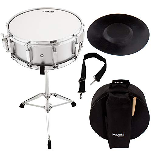 Mendini Student Snare Drum Set with Gig Bag, Sticks, Stand and Practice Pad  Kit, Silver, MSN-1455P-SR
