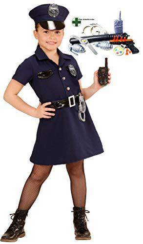 Karneval-Klamotten Polizei Kostüme für Kinder INKL Polizist Set Karneval Kinderkostüm Größe - Cop Kind Kostüm Mädchen