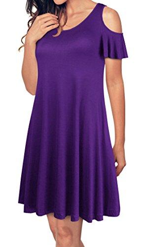 EasyMy Damen Mini kleid Rundhals kurze Ärmel Stretch Basic Kleider (80er Jahre Mini-kleid)