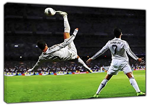 Real Madrid, Fußball, Cristiano Ronaldo mit Druck gerahmt Leinwand Kunstdruck, 30 x 24 inch-18mm depth -