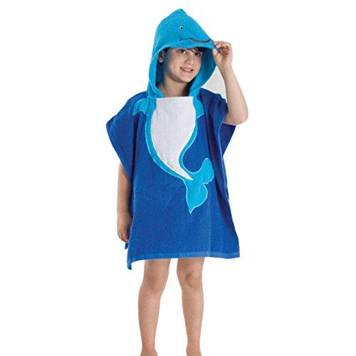 DecoBay Tierstickerei-mit Kapuze Bad-Strand-Tuch-Bademantel-Pyjama-Kostüm-Umhang-Umhang für Kinder (Wal Blau)