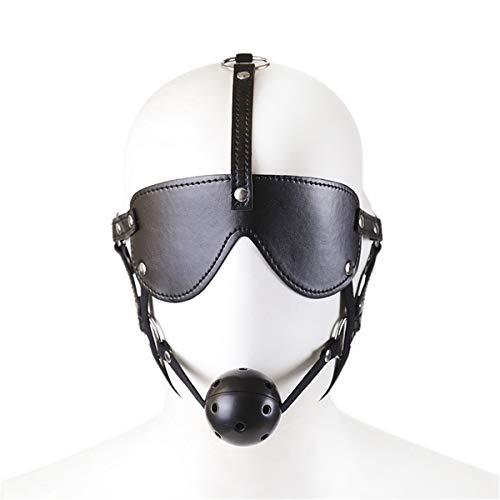 SM Bondage Maske mit Knebel Ball Kugel Augenmaske Kopfmaske,Harness Geschirre Einstellbar Kopfharness Fetisch Sklave Sex Spielzeug für Paar (Schwarz)