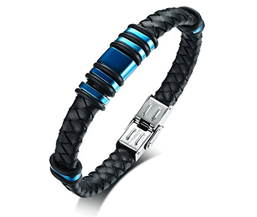 Vnox Herren Edelstahl geflochten Handmade Echtleder Manschette Armband schwarz blau Armband Geschenk für Freund Papa,21,5 cm