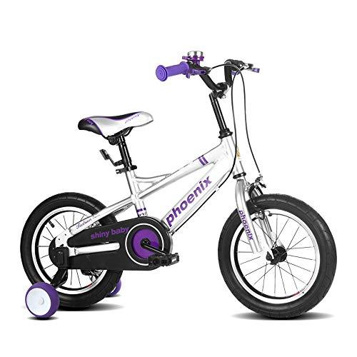 UOOGOU Kinderfahrrad Aluminiumlegierung Kinderfahrrad Mit Hilfsrad Outdoor Fahrrad Schwarz/Lila 4 Runden Mountainbike (Color : Purple, Size : 16 inch)