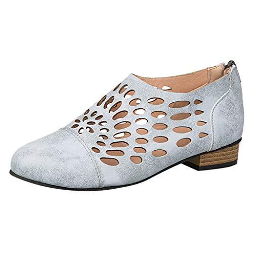 Frauen Wohnungen Müßiggänger aushöhlen Carving Casual Driving Schuhe Rutschfeste Walking Lederschuh Spitz leichte Zip Sandalen (Blumen Converse Frauen)
