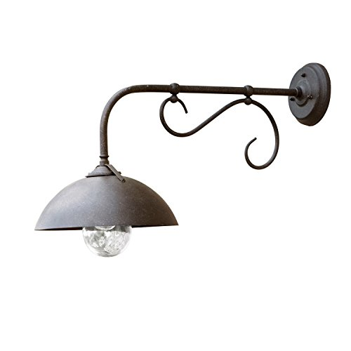 LOBERON Außenwandlampe Lupia, Patiniertes Eisen, H/B/T ca. 42/29/66 cm, dunkelbraun, Outdoor, IP44,...
