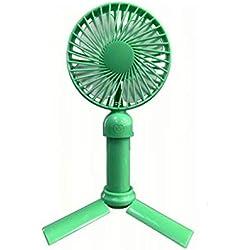 Blling Ventilateur Triangle Portable,Ventilateur à Main Portatif Mini Electrique Silencieux Permet De RéGler La Vitesse Ventilateur De Poche à Piles BéBé USB pour L'éTé (Noir/Blanc/Rose/Bleu/Vert)