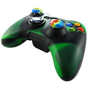 Pandaren® Silikon hülle skin für Xbox 360 controller (dunkelgrün + schwarz) x 1 + thumb grip aufsätze x 2