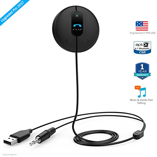 zaap®(usa) 3rd generation bluetooth 4.1 car kit(with apt-x & csr) / bluetooth receiver + hands free calling+ full music control +multi device connectivity+ home theatre + siri/voice command +built-in mic+ universal compatibility. (award winning-car accessories, black) ZAAP®(USA) 3rd Generation BLUETOOTH 4.1 CAR KIT(with APT-X & CSR) / Bluetooth Receiver + Hands Free calling+ Full Music control +Multi device connectivity+ Home Theatre + Siri/Voice Command +Built-in Mic+ Universal Compatibility. (Award Winning-Car accessories, Black) 41U6BJq FwL