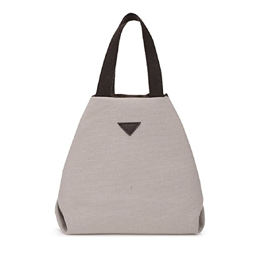 Transer Women Shoulder Bag Popular Girls Hand Bag Ladies Canvas Handbag, Borsa a spalla donna 18cm(L)*19(H)*11cm(W), Grey (Multicolore) - YHL60716185 Beige