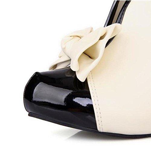 Lemon&T Spring Unique Beige Patent Leather Round-toe Women Rubber Sole 9.5CM haut Chunky Heels bowknot Chaussures Beige