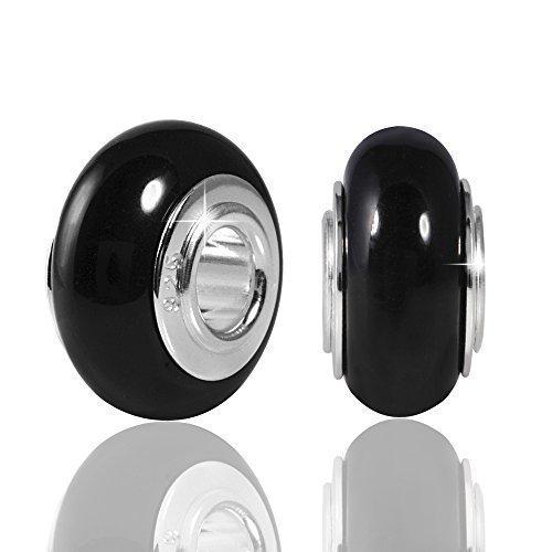 MATERIA gioielli pietre preziose perle di onice nero - 925 argento ciondolo in pietra con ampio tubo - tedesco del lavoro #400