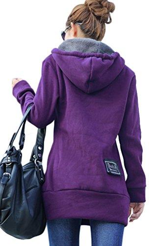 Voguees Damen Langarm Kapuzen Warm Sweatershirt Oberbekleidung Violett